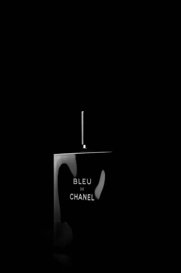 Parfum chanel on black background